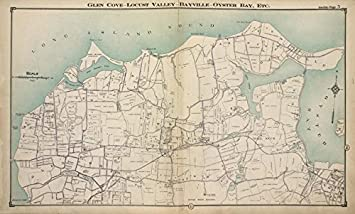 Oyster Bay New York Map.Amazon Com Historic Map Glen Cove Locust Valley Bayville