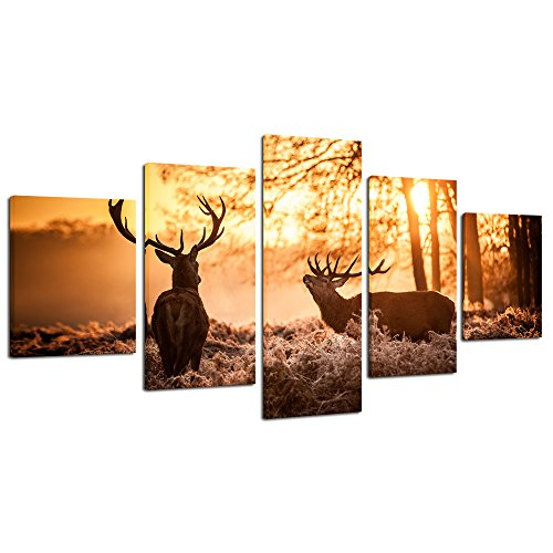 Pyradecor Elks Large Modern Animals Landscape 5 Panels Gallery Wrapped Giclee Canvas Print Forest Pictures on Canvas Wall Art Work Ready to Hang for Living Room Bedroom Home Office Decorations XL Elks Animals