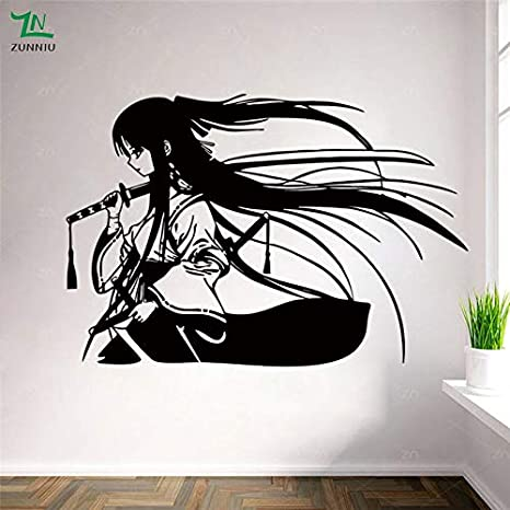 Samurai Geisha Katana Japonesa Espadas Anime Vinilo Decorativo ...