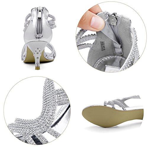 SHESOLE Damen Knöchel-Riemchen Sandalen Mitte Ferse Strass Riemchensandaletten Hochzeit Schuhe (Die Hälfte Größe größer) Silber