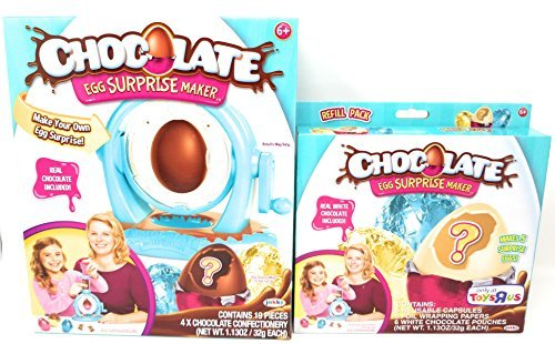 Chocolate Egg Surprise Maker and 5 Exclusive White Chocolate Refill Pack Bundle ()