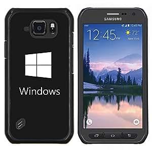 Gana el blanco del logotipo- Metal de aluminio y de plástico duro Caja del teléfono - Negro - Samsung Galaxy S6 active / SM-G890 (NOT S6)