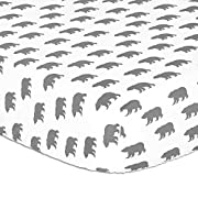 Grey Bear Print Fitted Crib Sheet - 100% Cotton Baby Boy Forest Animal Theme Woodland Trail Nursery and Toddler Bedding