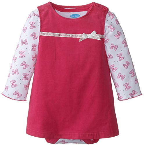 BON BEBE Baby-Girls Infant Ribbon and Bows Bodysuit and Corduroy Jumper Set, Multi, 24 Months
