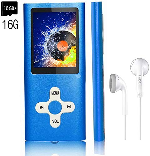"MP3 Player/Music Player,EVASA with a 16 GB TF Card Portable Digital Music Player/Video/Voice Record/FM Radio/E-Book Reader,Ultra Slim 1.8""Screen (Blue-16GB-1B1)"