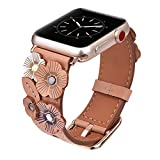 V-Moro Compatible 38mm Apple Watch Bands Women, Softer Genuine Leather iWatch Band Replacement Bracelet Strap Tea Rose Apple Watch Series 3 Series 2 Series 1, Sport, Nike+ (Beige, 38mm)