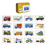 FunnyGoo Baby Infant 32pcs Flash Card Jigsaw cognition puzzle Shape Matching Cognitive Learning Early Education Card Toys (Vehicle Cars)