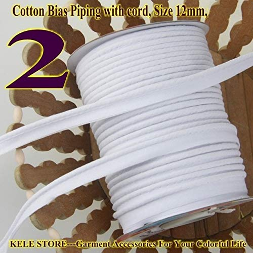 DalaB -100% Cotton Bias Piping, Bias Piping Tape with Cord, Size:12mm,DIY Making,Sewing Home Textile Bedding Piping Tape - (Color: 2 White)