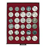 LINDNER Original Coin Box- with Square Compartments for Silver Dollars (Morgan, Peace, Trade and Coins Up To 38 mm) with Dark Red Velour