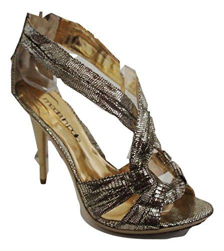 Moda In Pelle Doré métallisé Shimmer ouvert Sandales
