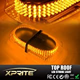 Xprite Amber 240 LED Roof Top Mini Bar, Truck Car Vehicle Law Enforcement Emergency Hazard Beacon Caution Warning Snow Plow Safety Flashing Strobe Light with Magnetic(Other Color Available)