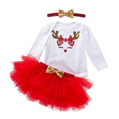 POLP Niño Regalo Navidad Niña Vestido Mono Bebe Rojo Navidad ...