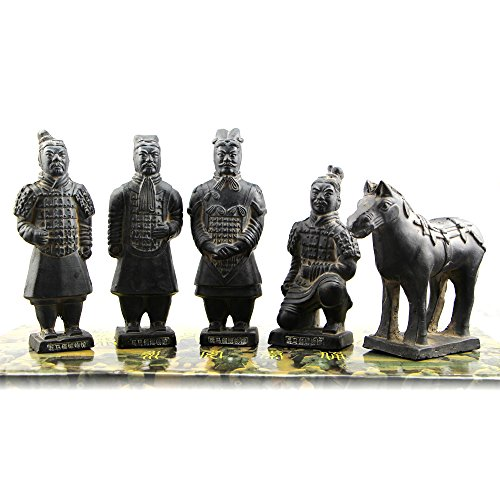 Chinese Shi Huangdi Terracotta Warrior – Qin Shi Huang Terracotta Army Warrior of Qin Dynasty, First Emperor of Ancient China History, Funerary Art Terra Cotta Soldier Sculpture (6 Inch Set of 5)