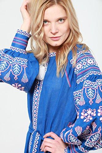 estilo boho bordado rojo Vyshyvanka ucraniano Vestido azul q1IaX