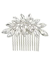 Ever Faith Bridal Silver-Tone Lots Marquise-Shape Clear Austrian Crystal Hair Comb N00406-1