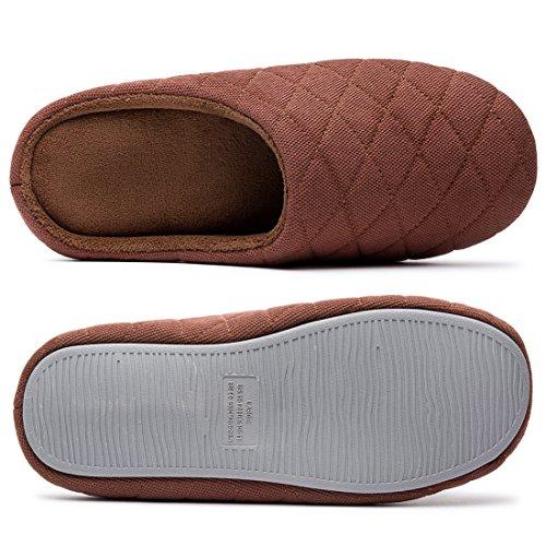 Zapatillas De Casa De Espuma De Memoria De Algodón Acolchado Comfort Para Hombre Slip On Zapatos De Casa Café