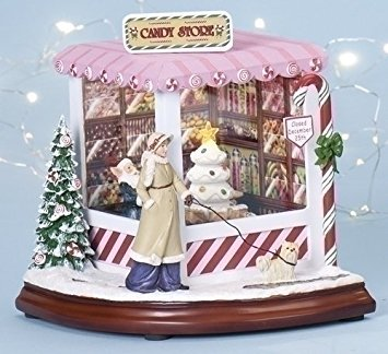 Christmas Candy Store Light Up Animated Music Box Roman Amusements 34402 New, pink, white, brown, green