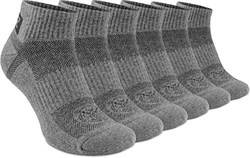 Running Cushion Ankle Low Cut Socks - Athletic Hiking Sport Workout by 281Z (Dark Grey)(Small 6 Pairs)
