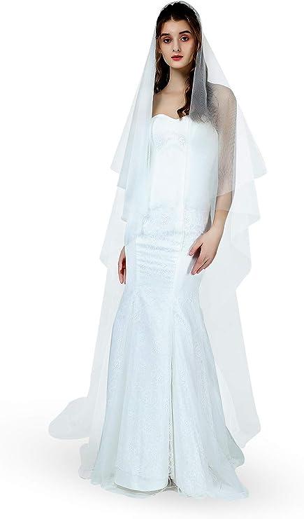 Wedding veil w 30 in blushertop tier chapel veil cathedral veil plain bridal veil classic floor length veil sheer waltz length veil
