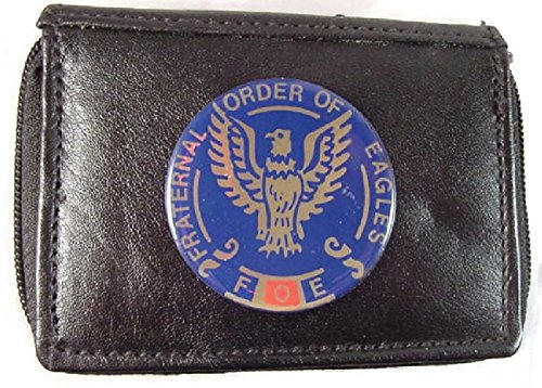 FOE FRATERNAL ORDER OF EAGLES BI FOLD BLACK 2 ZIPPERED WALLET OUTSIDE ID #FW02 NEW …
