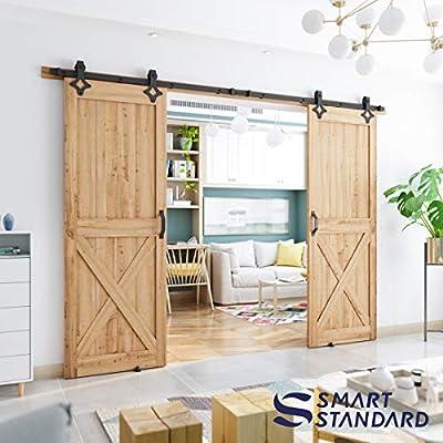 SMARTSTANDARD Sliding Barn Door Hardware (Rhombic Shape Hanger)