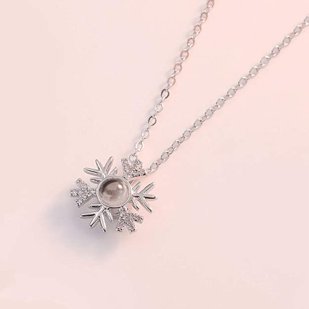 Super lindo color plata copo de nieve collar de cadena