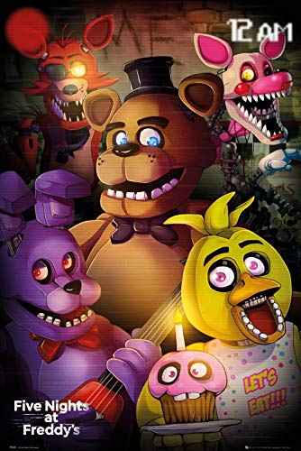 Five Nights at Freddy's Cam Poster Gifts for Horror Game Fans Gamer Room Wall Decor Chica The Chicken Wall Art Foxy The Pirate Poster Living Room Artwork (24x32) (Chica Five Nights At Freddys Fan Art)