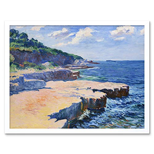 - Kubista View Sea Pula Expressionist Landscape Painting Art Print Framed Poster Wall Decor 12x16 inch