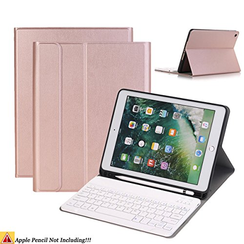 Keyboard Pencil (iPad 9.7/iPad Air Keyboard Case,Naswei Ultra-Slim Soft TPU Case Cover Built-in Pencil Holder with Removable Detachable Keyboard for 2018 6th 2017 5th Generation iPad 9.7