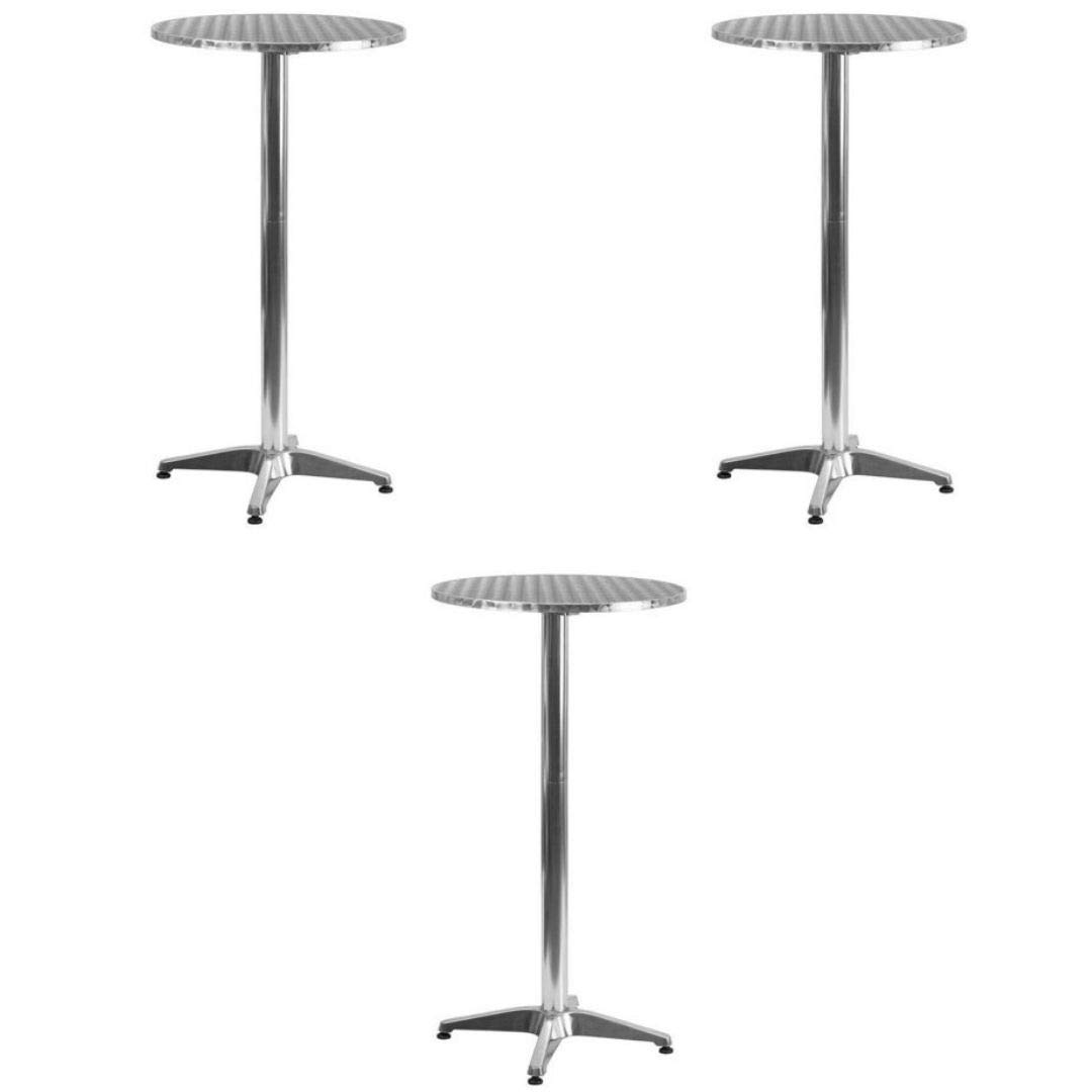 Flash Furniture Round Aluminum Indoor-Outdoor Folding Bar Height Table with Base (3 Pack, 25.5'' inches) by Flash Furniture