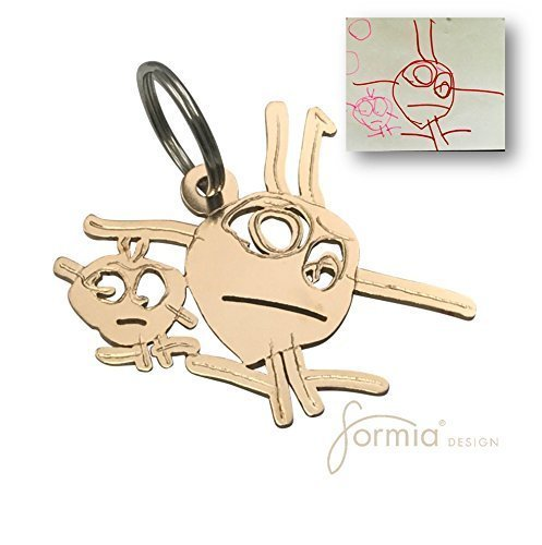 Bronze Key Chain- Unique Gift of a Custom Key Chain with Kid's Drawing- Personalized Artwork Gift by Formia®Design