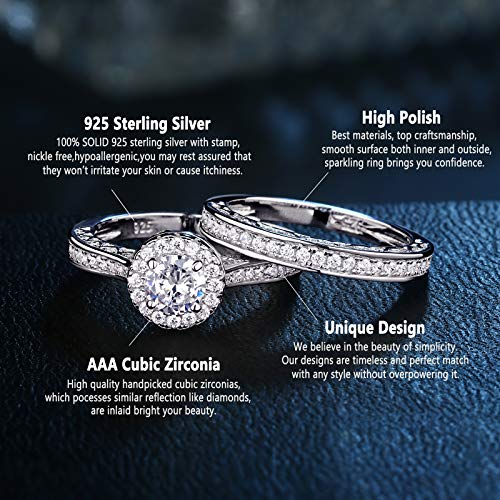 Newshe Wedding Rings for Women Engagement Ring Set 925 Sterling Silver 2.4Ct Round White AAA Cz Size 5-12 4