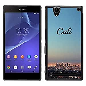 Design for Girls Plastic Cover Case FOR Sony Xperia T2 Ultra California Skyline City La Los Angeles OBBA