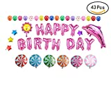 Cute Pink Birthday Party Balloons Set(43 Pieces)- HAPPY BIRTHDAY Letters Balloons and Birthday Celebration Balloons Supplies