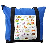 Lunarable ABC Kids Shoulder Bag, Funny Colorful Cartoon Zoo, Durable with Zipper