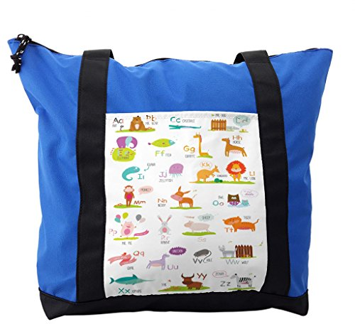 Lunarable ABC Kids Shoulder Bag, Funny Colorful Cartoon Zoo, Durable with Zipper by Lunarable