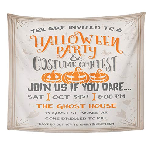 Emvency Wall Tapestry Cartoon Halloween Party and Costume Contest with Scary Pumpkins Design Grunge Easy to Remove Vintage Witch Autumn Board Decor Wall Hanging Picnic Bedsheet Blanket 60x50 Inches ()