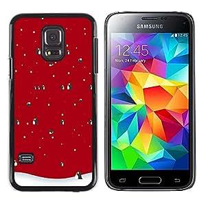 Design for Girls Plastic Cover Case FOR Samsung Galaxy S5 Mini, SM-G800 Winter Christmas Penguin Snow OBBA