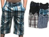 Andrew Scott Boy's 6 Pack Woven Jam 3/4 Length Jog Shorts Pant (6 Pack - Assorted Classic Plaids, Medium)