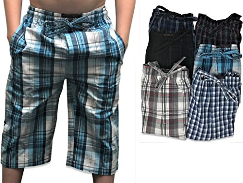 Andrew Scott Boy's 6 Pack Woven Jam 3/4 Length Jog Shorts Pant (6 Pack - Assorted Classic Plaids, Medium) by Andrew Scott