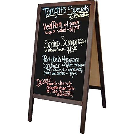 Winco Sidewalk Marker Board with Mahogany Wood-A-Frame, 39 5-Inch x  20 25-Inch