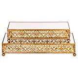 2-Piece Rectangular Mirror-Top Cake Stand Risers Dessert Tray Set (Gold)