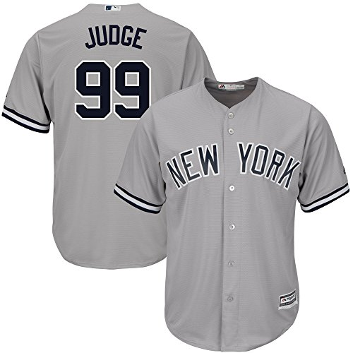 (OuterStuff Aaron Judge New York Yankees #99 Youth Cool Base Road Jersey Gray (Large 14/16))