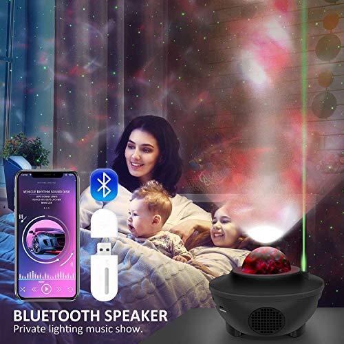 AONCO LED Sternenlicht Projektor, Rotierende Wasserwellen Projektionslampe, Ferngesteuerte Nachtlichter, Farbwechsel Musikspieler mit Bluetooth & Timer, für Baby Kinder Schlafzimmer, Haus Dekoration