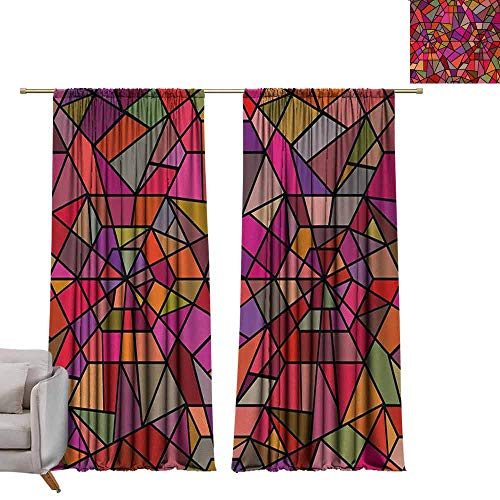 - berrly Blackout Window Curtain Abstract,Mosaic Style Stained Glass Fractal Colorful Geometric Triangle Forms Artful Image,Multicolor W72 x L96 Room Darkening Wide Curtains