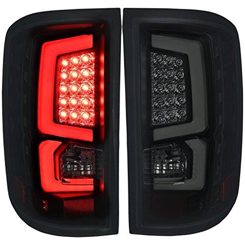 AJP Distributors Tube LED Tail Light Lamp Lights Lamps For GMC Sierra 1500 2500 3500 HD 2007 2008 2009 2010 2011 2012 2013 2014 07 08 09 10 11 12 13 14 (Black Housing Smoke Lens White Tube)