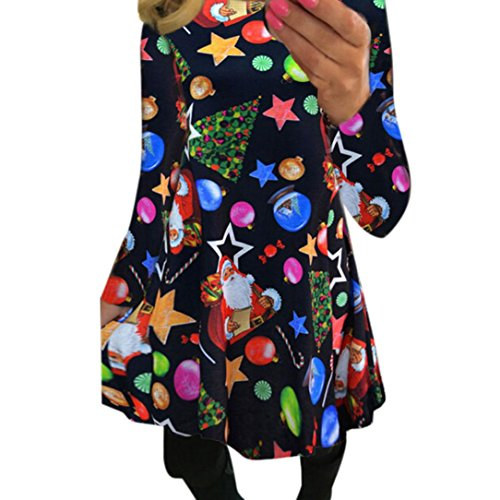 Price comparison product image Women Dress Christmas Daoroka Women's Santa Claus Xmas Gifts Snowman Lucky Star Printed Vintage Dress O-Neck Long Sleeve Flare Swing A Line Party Dress For Christmas / New Year (L,  Black)