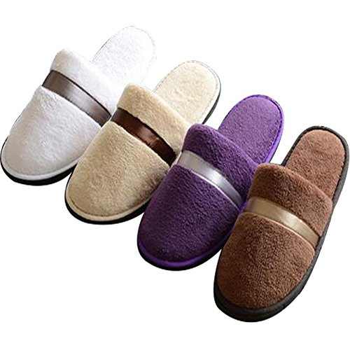 4 Pairs Unisex Coral Fleece House Slippers Non-once Girder Set of 4 wjXmKW6