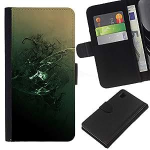 Protector de cuero de la PU de la cubierta del estilo de la carpeta del tirón BY RAYDREAMMM - Sony Xperia Z1 L39 - Resumen oscuro gótico