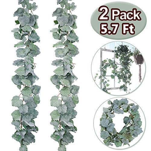 - 2 Pack Artificial Hanging Leaves Vines - 5.7 Ft Artificial Begonia Leaves Vines Silk Plant Leaves Artificial Greenery Garland Plants Hanging for Indoor Outdoor Wedding Decor Gray Green Crowns Wreath